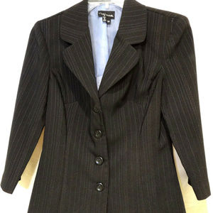 My Michelle Jacket 3/4 Sleeve Black Blue Pinstripe
